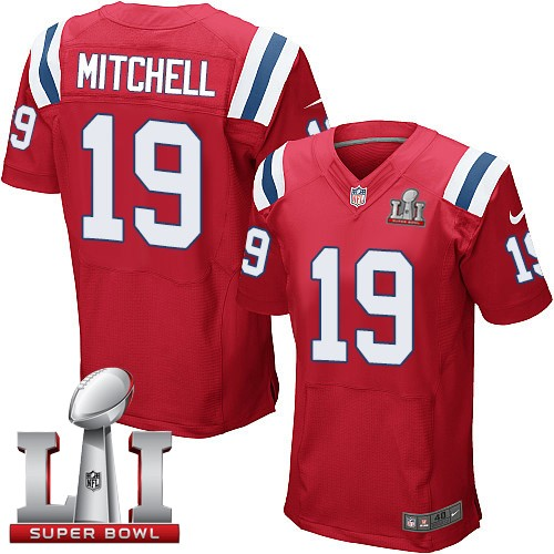 Nike Patriots 19 Malcolm Mitchell Red 2017 Super Bowl LI Elite Jersey