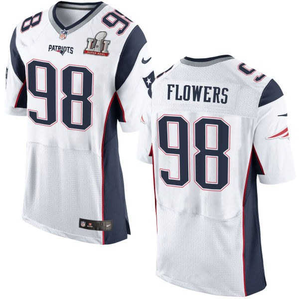 Nike Patriots 98 Trey Flowers White 2017 Super Bowl LI Elite Jersey