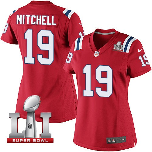 Nike Patriots 19 Malcolm Mitchell Red Women 2017 Super Bowl LI Game Jersey