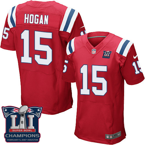 Nike Patriots 15 Chris Hogan Red 2017 Super Bowl LI Champions Elite Jersey