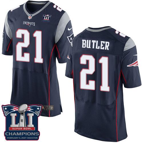 Nike Patriots 21 Malcolm Navy 2017 Super Bowl LI Champions Elite Jersey