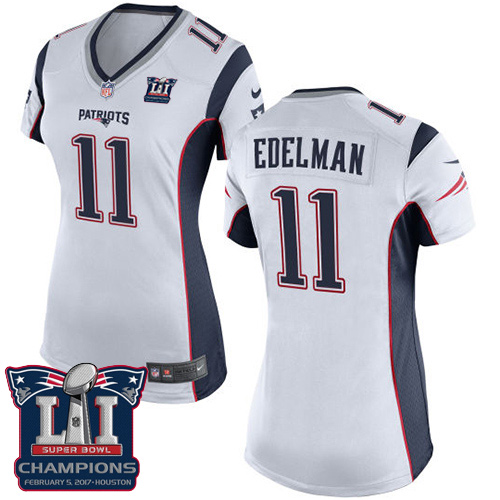 Nike Patriots 11 Julian Edelman White 2017 Super Bowl LI Champions Women Game Jersey