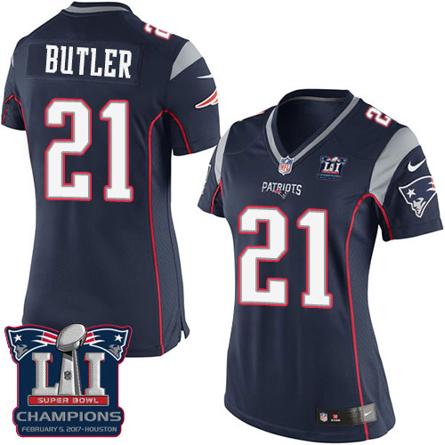 Nike Patriots 21 Malcolm Navy 2017 Super Bowl LI Champions Women Game Jersey