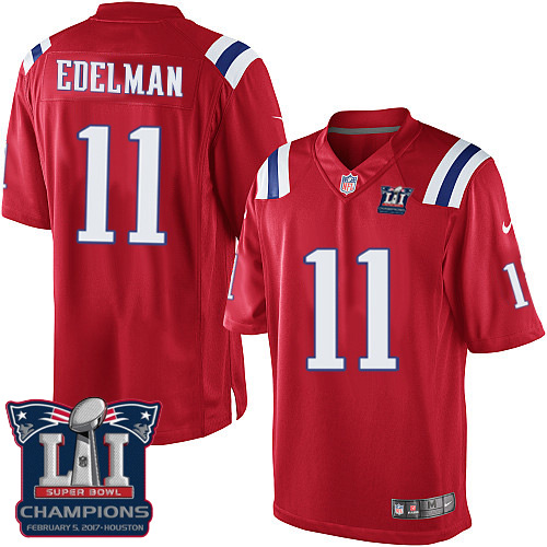 Nike Patriots 11 Julian Edelman Red 2017 Super Bowl LI Champions Youth Game Jersey