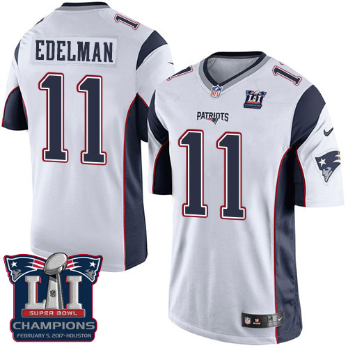 Nike Patriots 11 Julian Edelman White 2017 Super Bowl LI Champions Youth Game Jersey