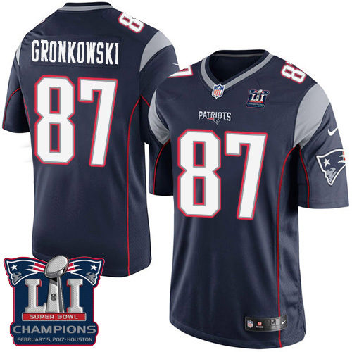 Nike Patriots 87 Rob Gronkowski Navy 2017 Super Bowl LI Champions Youth Game Jersey