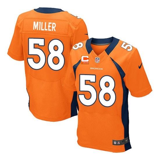 Nike Broncos 58 Von Miller Orange With C Patch Elite Jersey