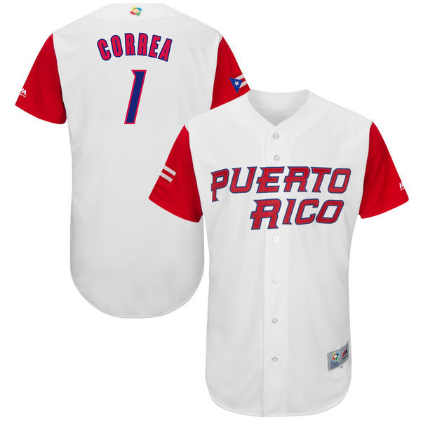 Men's Puerto Rico Baseball 1 Carlos Correa White 2017 World Baseball Classic Jersey