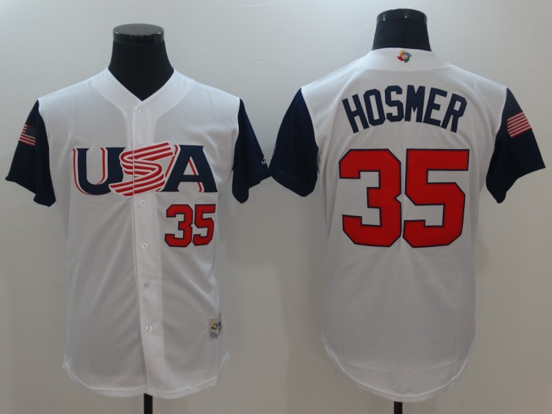 Men's USA Baseball 35 Eric Hosmer White 2017 World Baseball Classic Jersey