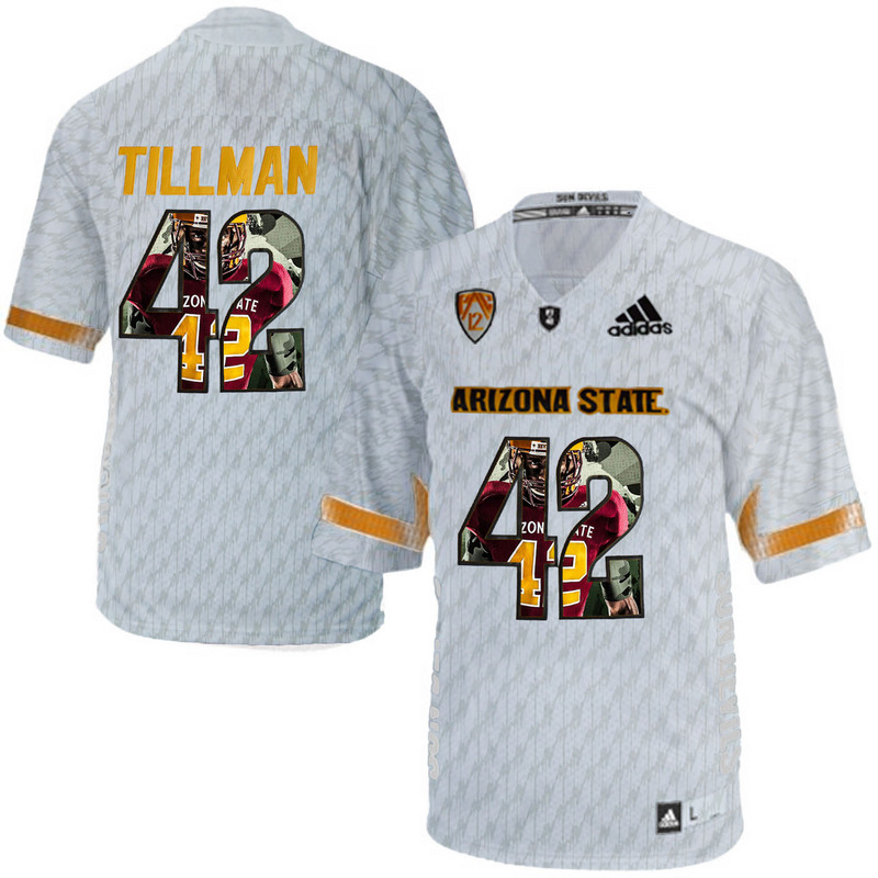 Arizona State Sun Devils 42 Pat Tillman Ice Team Logo Print College Football Jersey