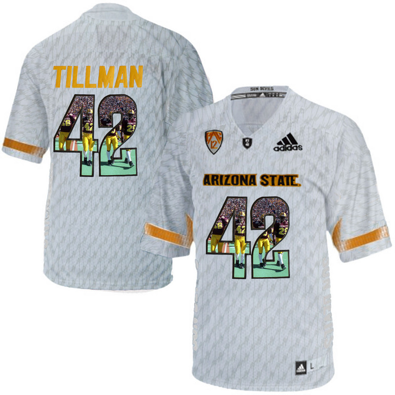 Arizona State Sun Devils 42 Pat Tillman Ice Team Logo Print College Football Jersey3