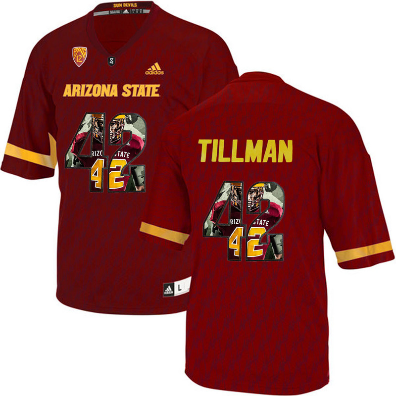 Arizona State Sun Devils 42 Pat Tillman Red Team Logo Print College Football Jersey