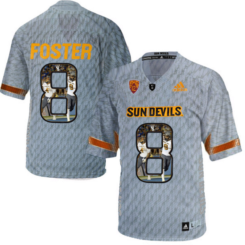 Arizona State Sun Devils 8 D.J. Foster Gray Team Logo Print College Football Jersey5