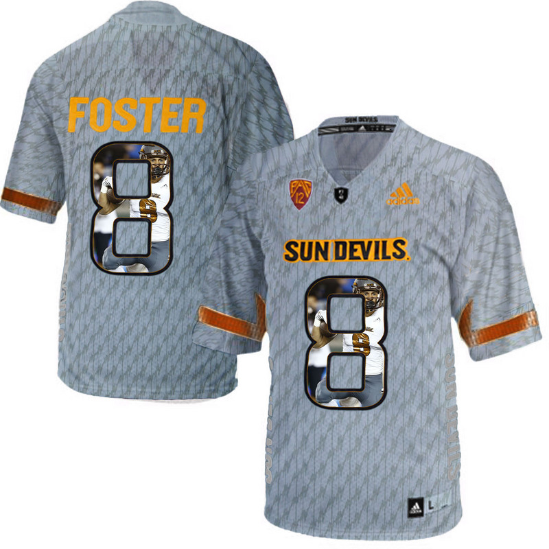 Arizona State Sun Devils 8 D.J. Foster Gray Team Logo Print College Football Jersey7