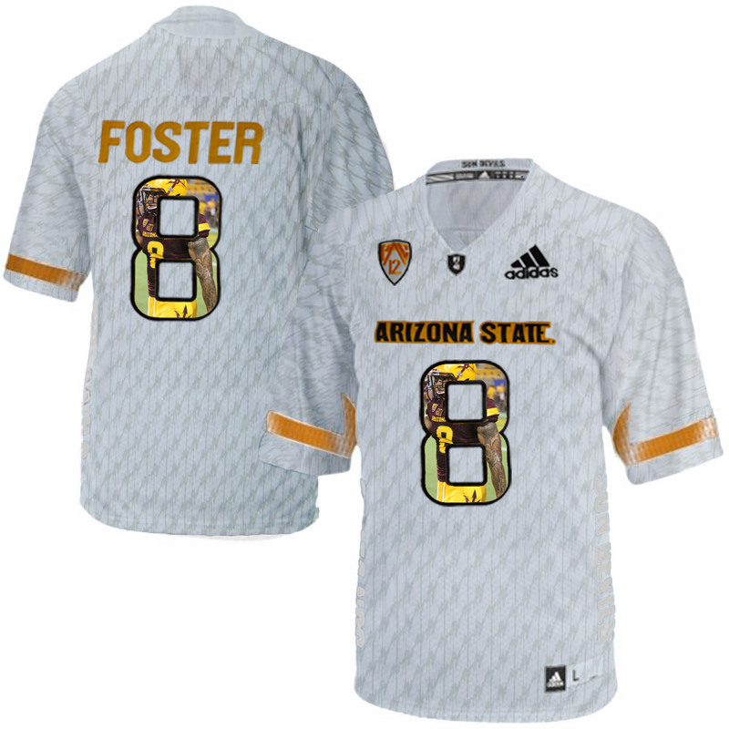 Arizona State Sun Devils 8 D.J. Foster Ice Team Logo Print College Football Jersey10