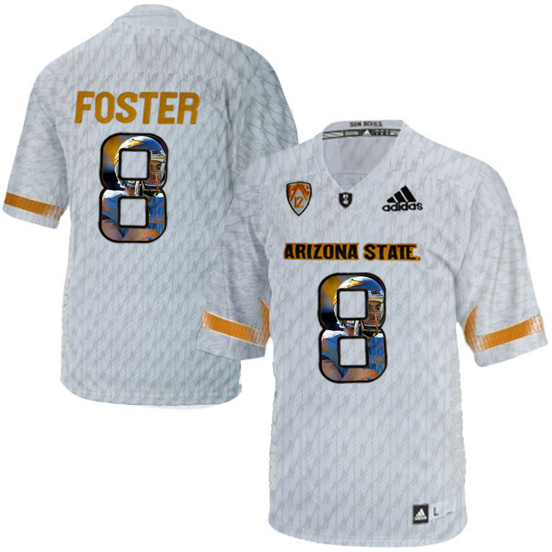Arizona State Sun Devils 8 D.J. Foster Ice Team Logo Print College Football Jersey2