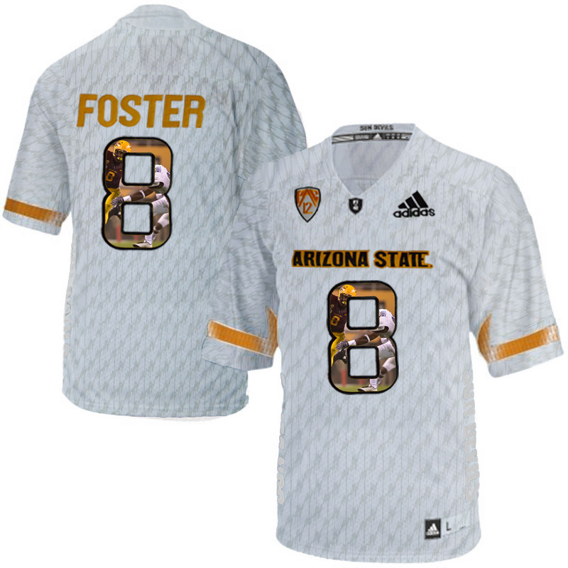Arizona State Sun Devils 8 D.J. Foster Ice Team Logo Print College Football Jersey6