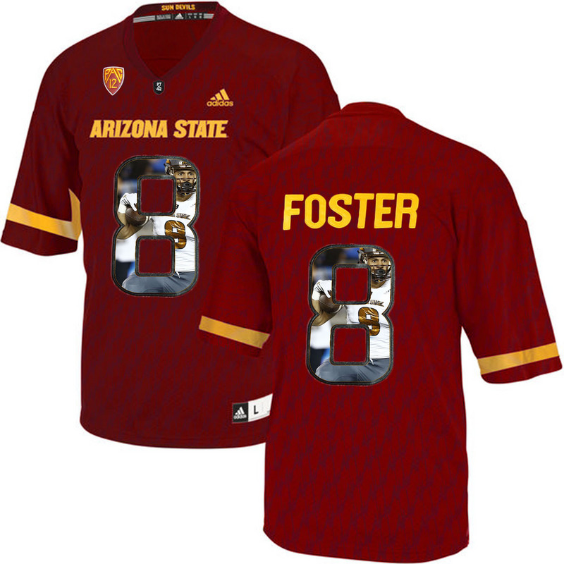 Arizona State Sun Devils 8 D.J. Foster Red Team Logo Print College Football Jersey2