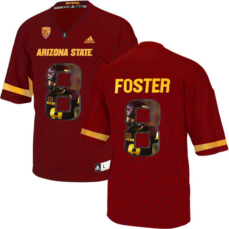 Arizona State Sun Devils 8 D.J. Foster Red Team Logo Print College Football Jersey6