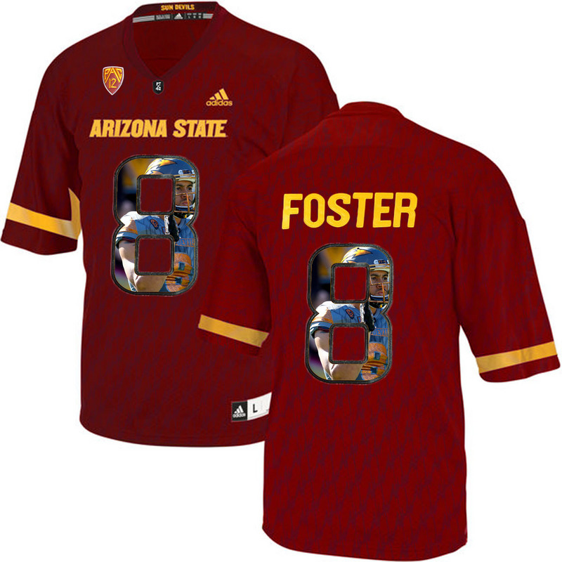 Arizona State Sun Devils 8 D.J. Foster Red Team Logo Print College Football Jersey8