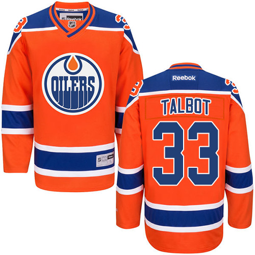 Oilers 33 Cam Talbot Orange Premier Alternate Jersey