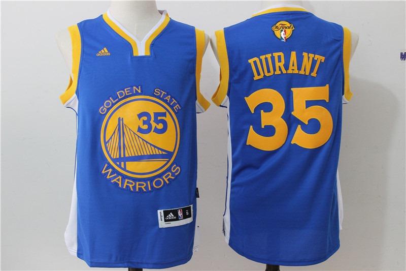 Warriors 35 Kevin Duant Royal 2017 NBA Finals Swingman Jersey