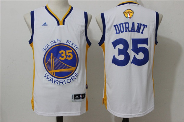 Warriors 35 Kevin Duant White 2017 NBA Finals Swingman Jersey