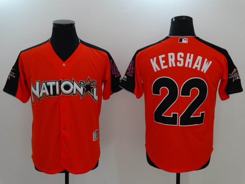 National League 22 Clayton Kershaw Orange 2017 MLB All-Star Game Home Run Derby Player Jersey