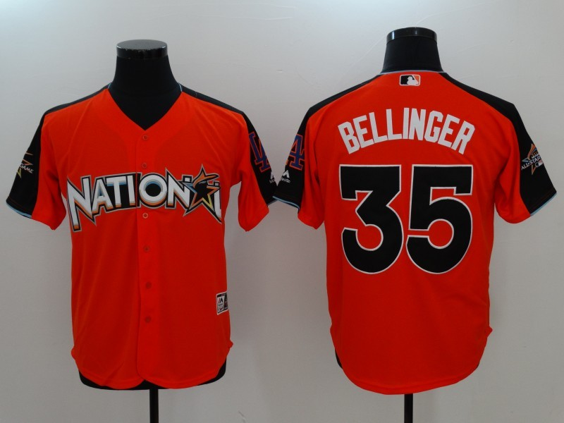 National League 35 Cody Bellinger Orange 2017 MLB All-Star Game Home Run Derby Player Jersey