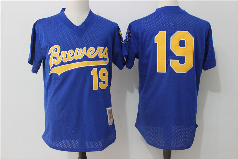 Brewers 19 Robin Yount Royal Mesh Cooperstown Collection Jersey