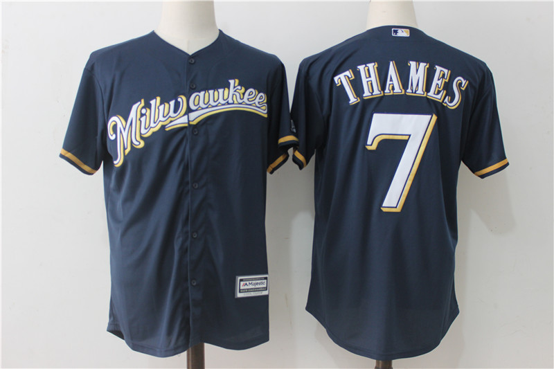 Brewers 7 Eric Thames Navy Cool Base Jersey