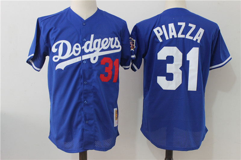 Dodgers 31 Mike Piazza Blue Cooperstown Collection Mesh Batting Practice Jersey