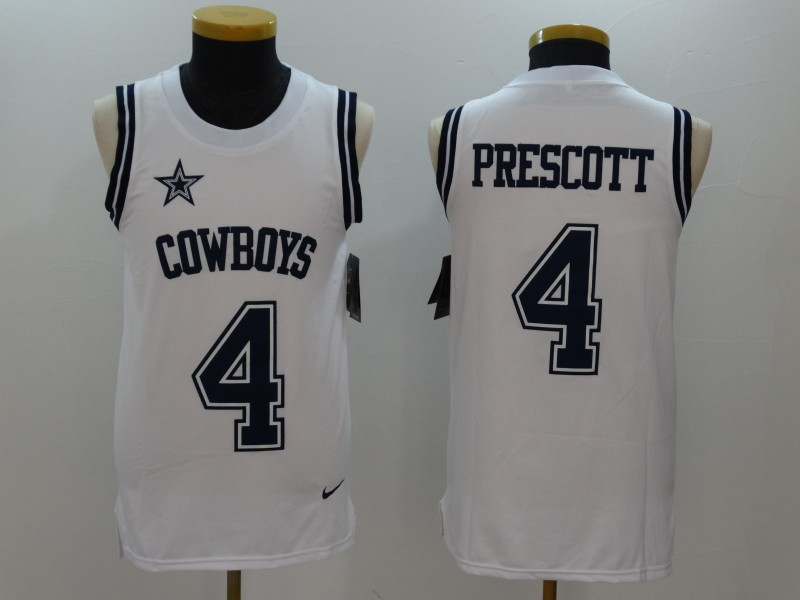 Nike Cowboys 4 Dak Prescott White Color Rush Name & Number Tank Top