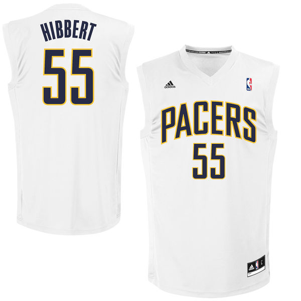 Pacers 55 Roy Hibbert White Fashion Replica Jersey