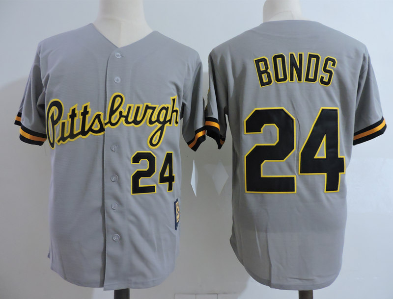 Pirates 24 Barry Bonds Gray Cooperstown Collection Jersey