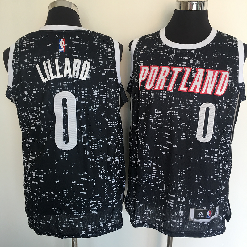 Blazers 0 Damian Lillard Black City Luminous Jersey