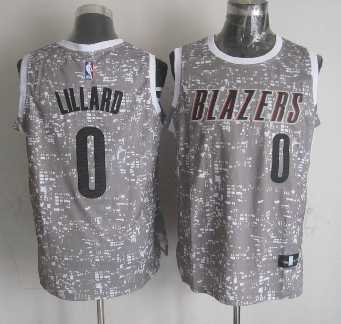 Blazers 0 Damian Lillard Gray City Luminous Jersey