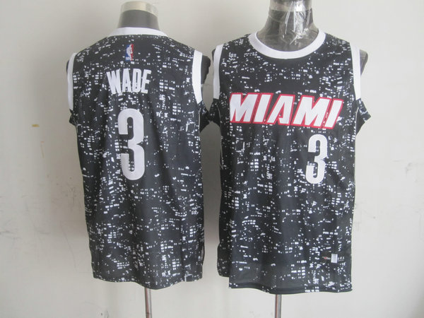 Heat 3 Dwyane Wade Black City Luminous Jersey
