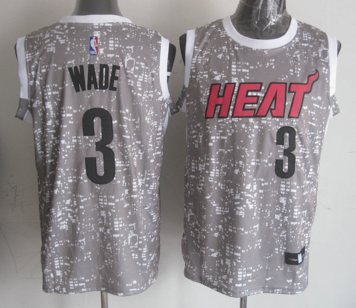 Heat 3 Dwyane Wade Gray City Luminous Jersey