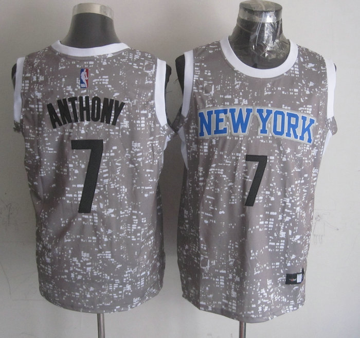 Knicks 7 Carmelo Anthony Gray City Luminous Jersey