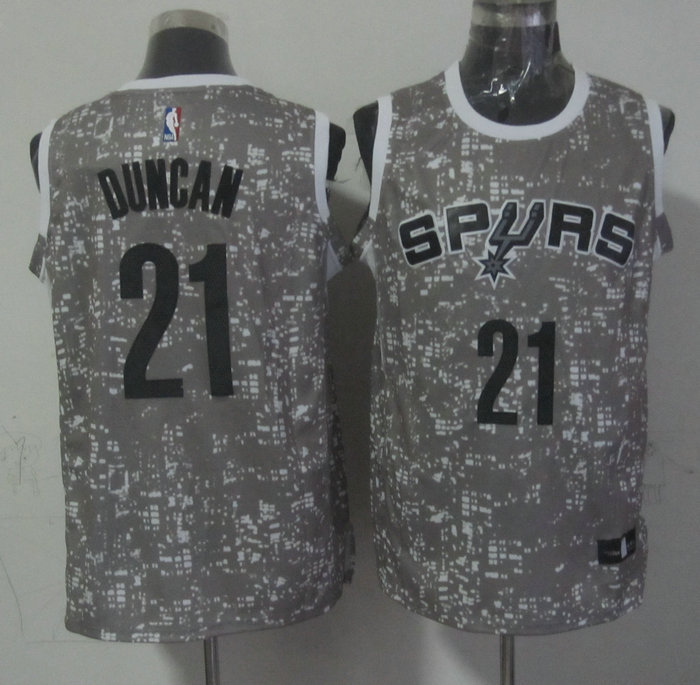 Spurs 21 Tim Duncan Gray City Luminous Jersey