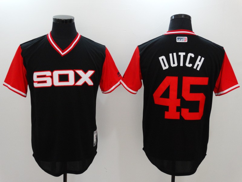 White Sox 45 Derek Holland Dutch Majestic Black 2017 Players Weekend Jersey