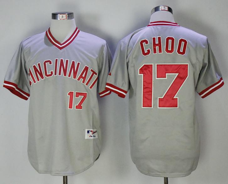 Reds 17 Shin-Soo Choo Gray Throwback Jersey