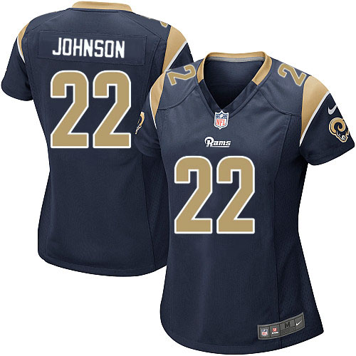 Nike Rams 22 Trumaine Johnson Navy Women Game Jersey