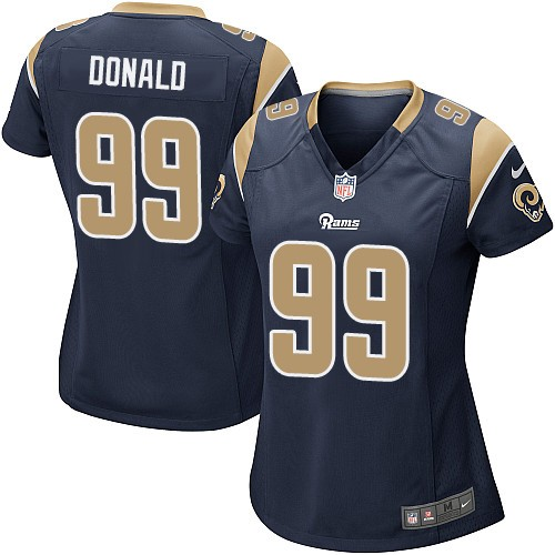 Nike Rams 99 Aaron Donald Navy Women Game Jersey