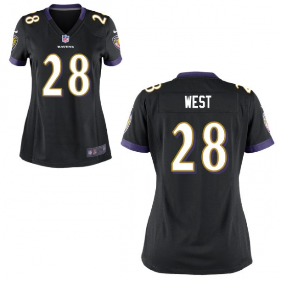 Nike Ravens 28 Terrance West Black Women Game Jersey