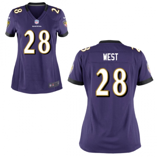 Nike Ravens 28 Terrance West Purple Women Game Jersey