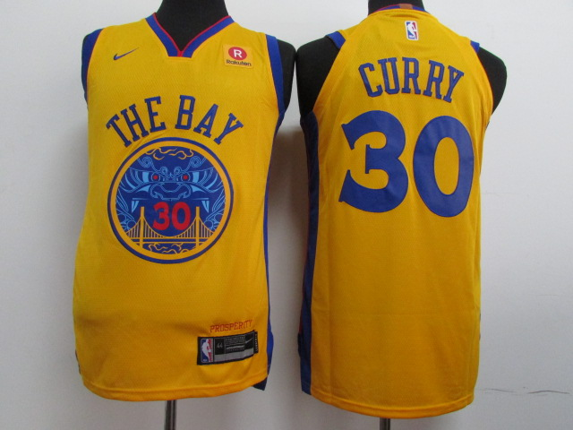 Warriors 30 Stephen Curry Gold City Edition Authentic Jersey