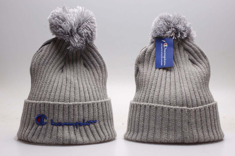 Champion Gray Fashion Sport Pom Knit Hat YP