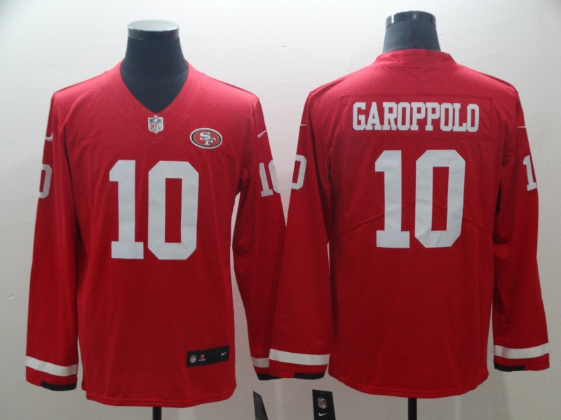 Nike 49ers 10 Jimmy Garoppolo Red Therma Long Sleeve Jersey